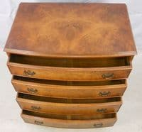 Chest of Drawers Small Walnut Bow Front Chest by Reprodux - SOLD